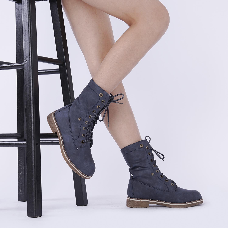 Women-Winter-Warm-Boots-Faux-Fur-Mid-Calf-Snow-Lace-Up-Fashion-Boots-Size-5-11 thumbnail 49