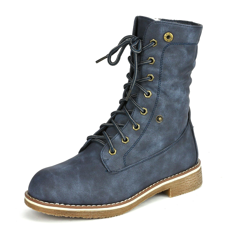 Women-Winter-Warm-Boots-Faux-Fur-Mid-Calf-Snow-Lace-Up-Fashion-Boots-Size-5-11 thumbnail 45