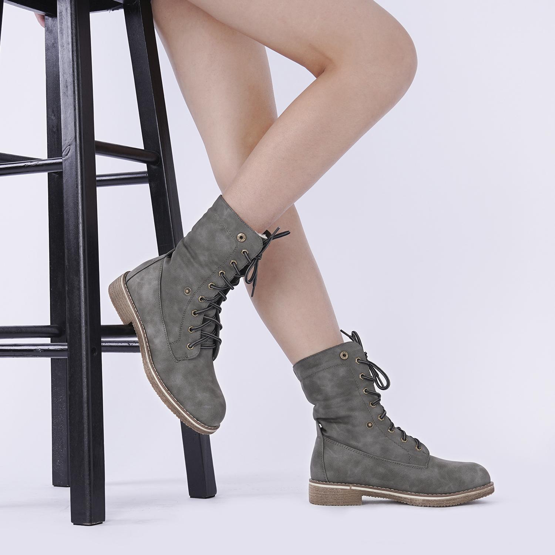 Women-Winter-Warm-Boots-Faux-Fur-Mid-Calf-Snow-Lace-Up-Fashion-Boots-Size-5-11 thumbnail 56