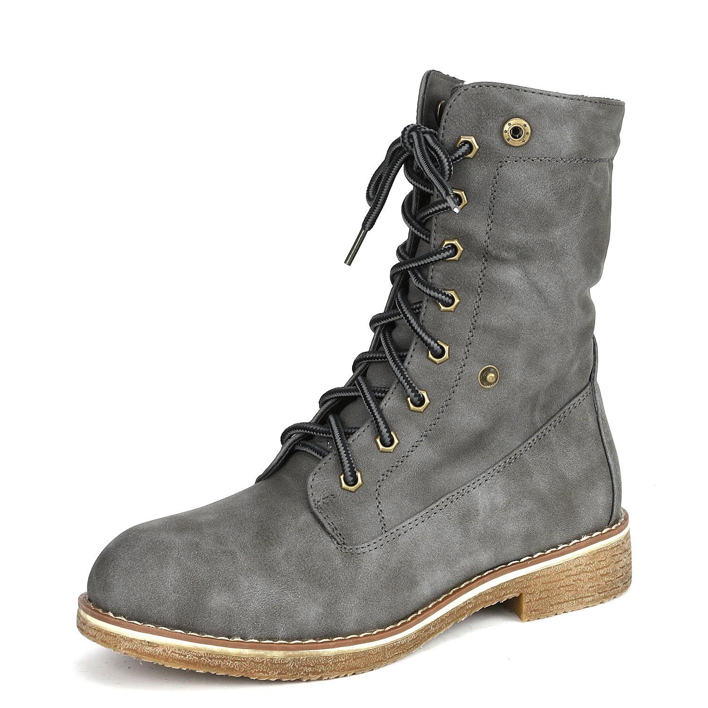Women-Winter-Warm-Boots-Faux-Fur-Mid-Calf-Snow-Lace-Up-Fashion-Boots-Size-5-11 thumbnail 52