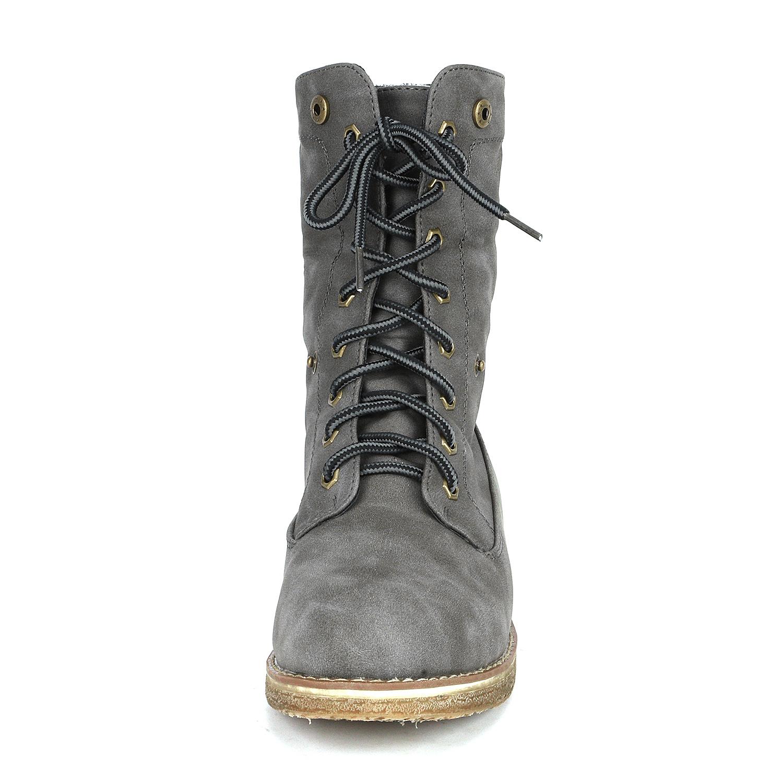 Women-Winter-Warm-Boots-Faux-Fur-Mid-Calf-Snow-Lace-Up-Fashion-Boots-Size-5-11 thumbnail 54