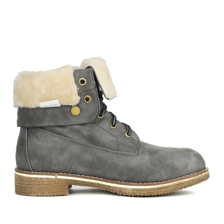 Women-Winter-Warm-Boots-Faux-Fur-Mid-Calf-Snow-Lace-Up-Fashion-Boots-Size-5-11 thumbnail 51