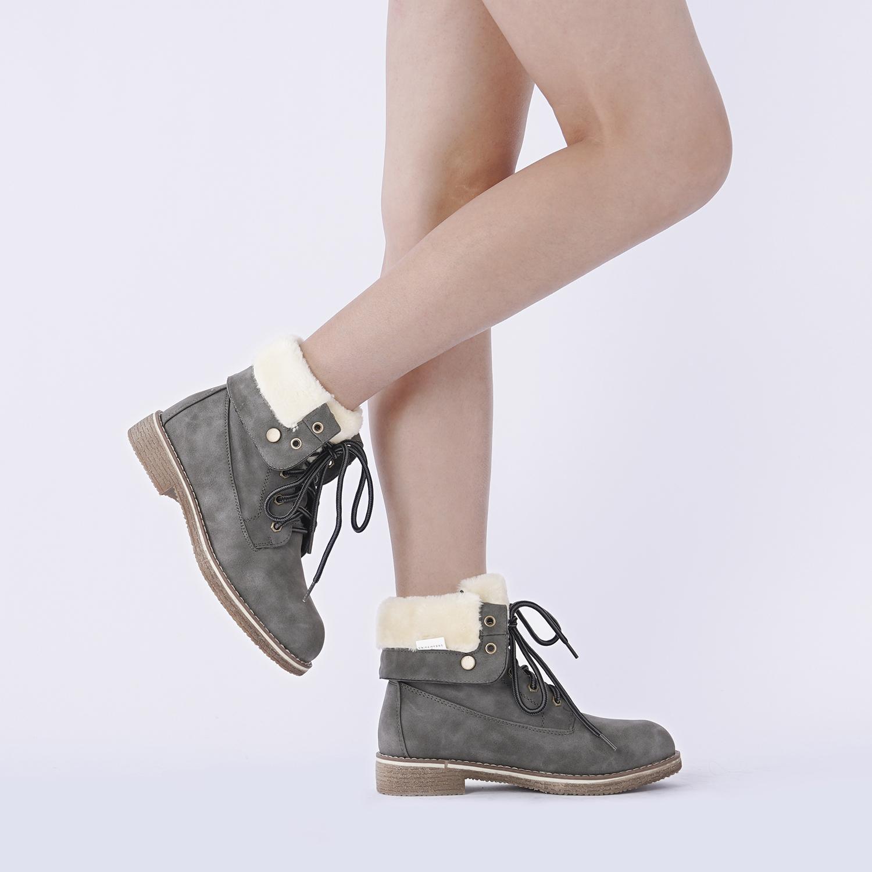 Women-Winter-Warm-Boots-Faux-Fur-Mid-Calf-Snow-Lace-Up-Fashion-Boots-Size-5-11 thumbnail 55