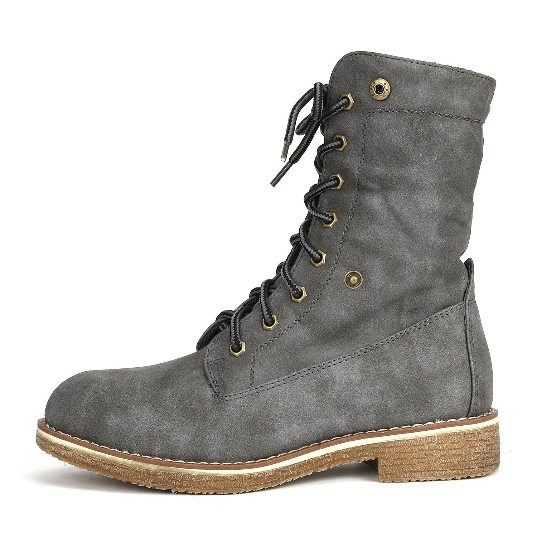 Women-Winter-Warm-Boots-Faux-Fur-Mid-Calf-Snow-Lace-Up-Fashion-Boots-Size-5-11 thumbnail 53