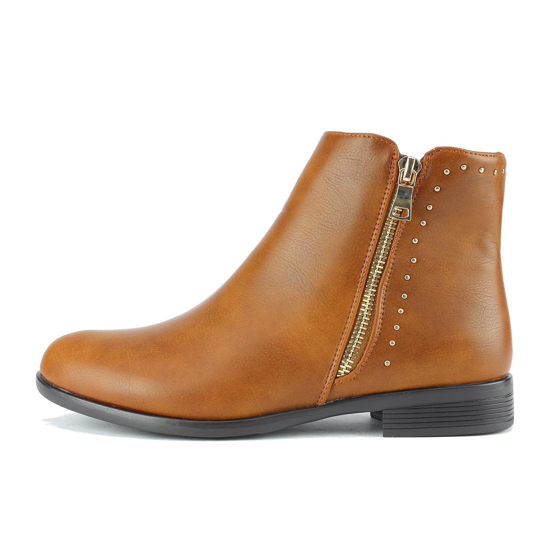 0f3453758 DREAM PAIRS Women STUBBY PU Leather Side zipper Flat Heel Short ...