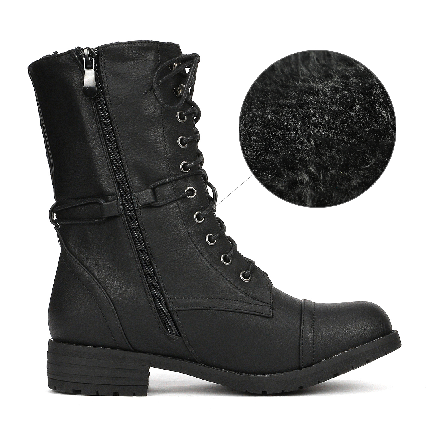 DREAM PAIRS Women Faux Fur Mid Calf Lace Up Combat Riding Motorcycle Boots
