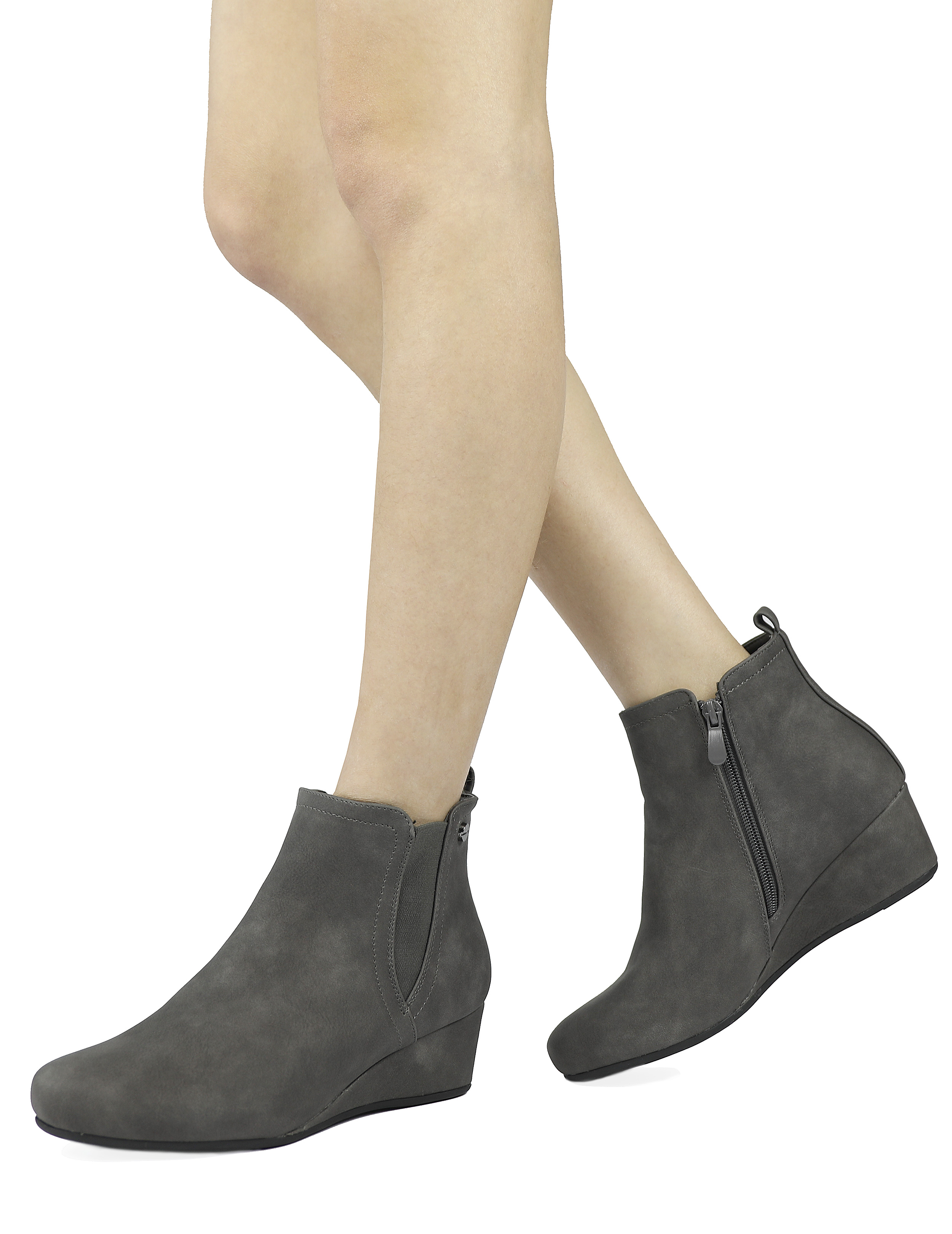 DREAM-PAIRS-Women-039-s-New-Zoie-Low-Wedge-Heel-Lined-zipper-Ankle-Boots-Multi-color
