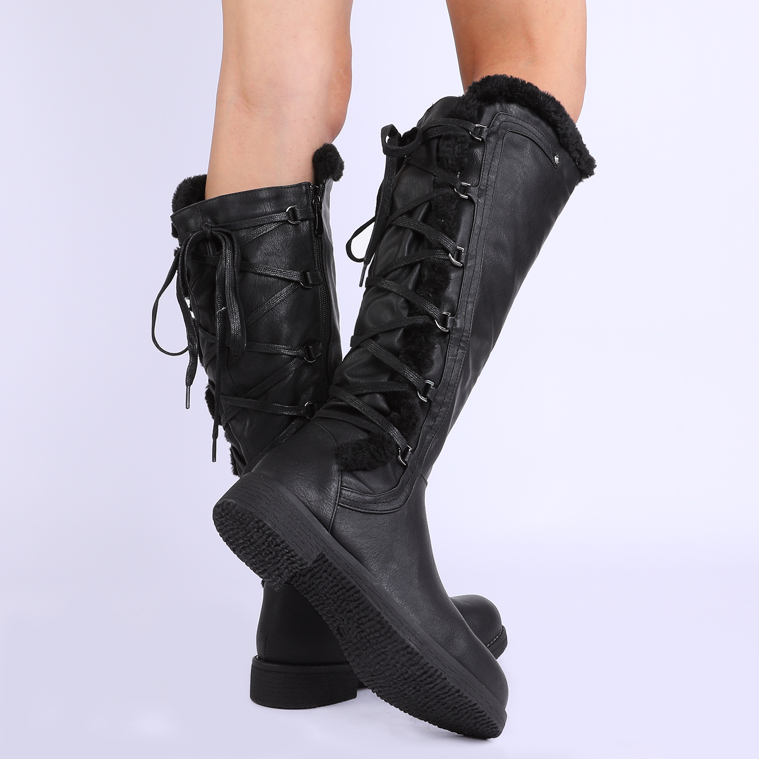 DREAM-PAIRS-Womens-Knee-High-Faux-Fur-Lined-Winter-Snow-Lace-Up-Zip-Combat-Boots thumbnail 9