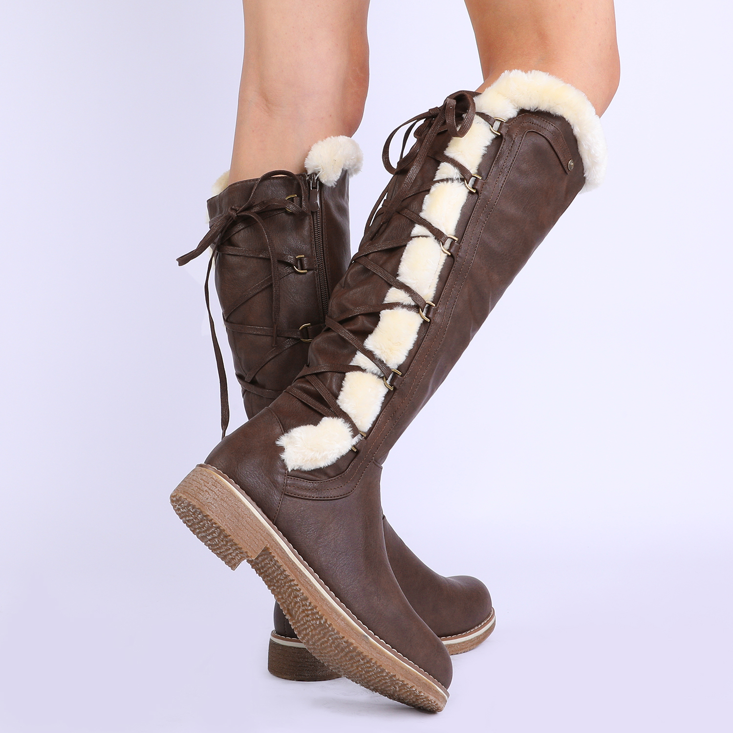 DREAM-PAIRS-Womens-Knee-High-Faux-Fur-Lined-Winter-Snow-Lace-Up-Zip-Combat-Boots thumbnail 13
