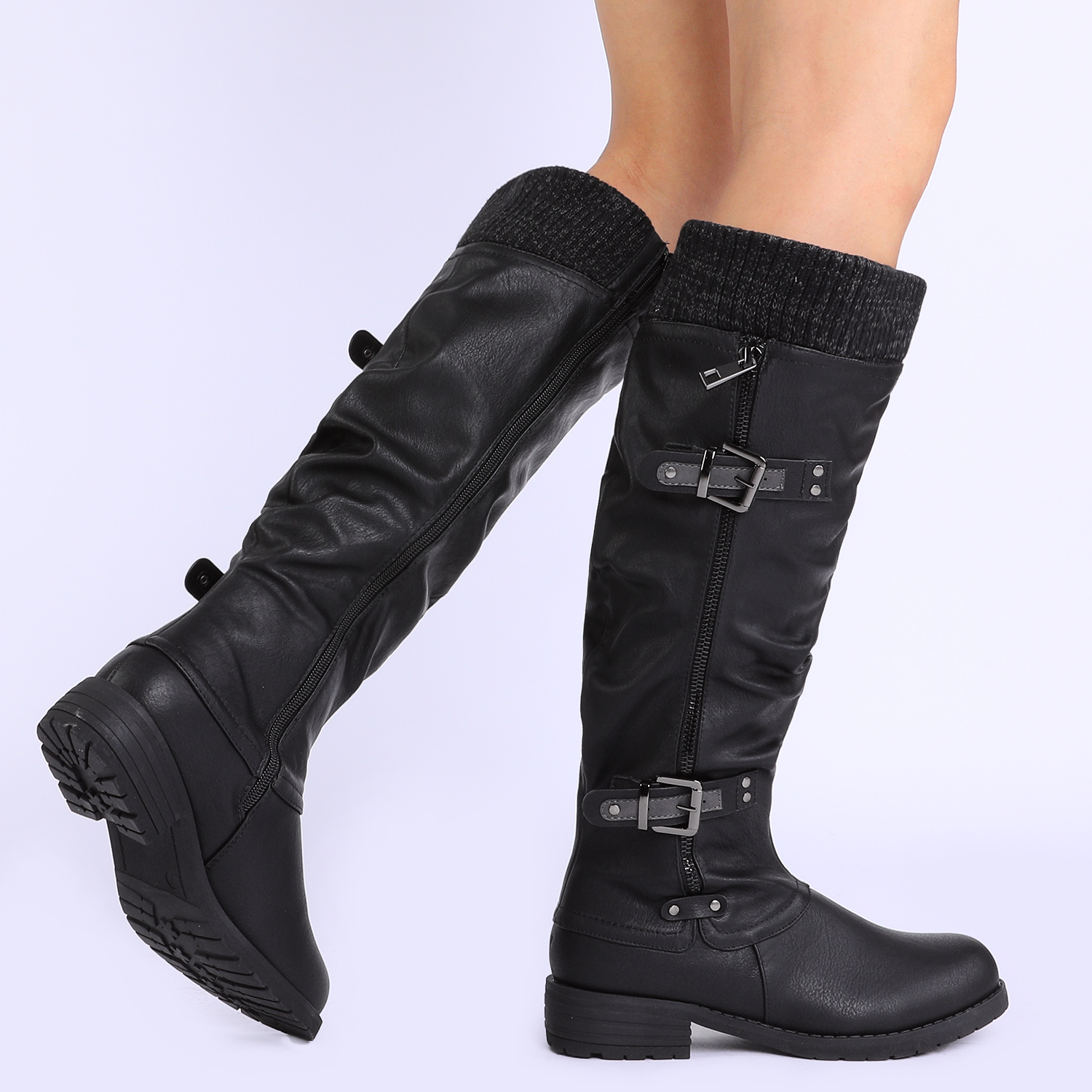 DREAM-PAIRS-Womens-DEPP-Cowgirl-Soft-PU-Leather-Combat-Knee-High-Riding-Boots thumbnail 10