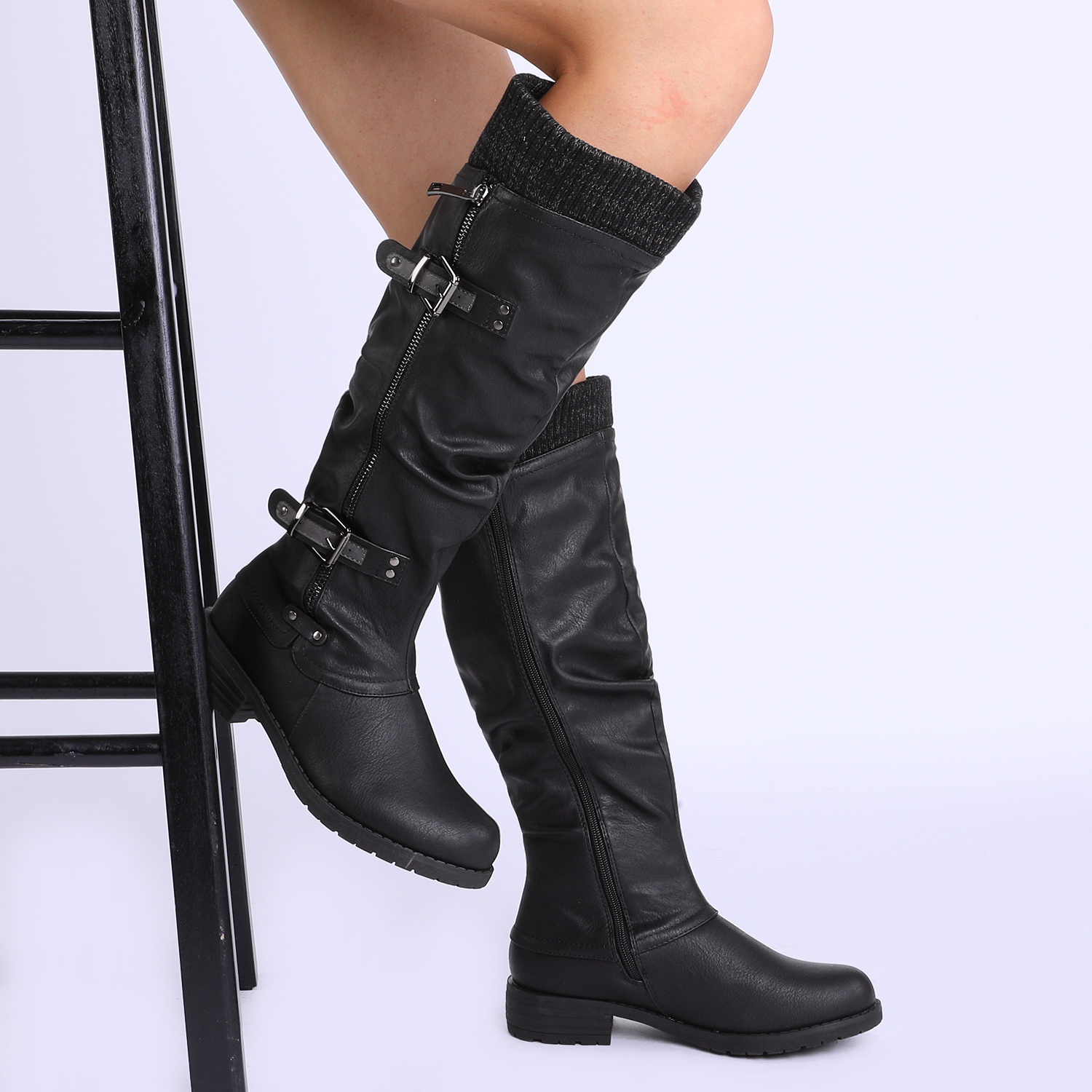 DREAM-PAIRS-Womens-DEPP-Cowgirl-Soft-PU-Leather-Combat-Knee-High-Riding-Boots thumbnail 11