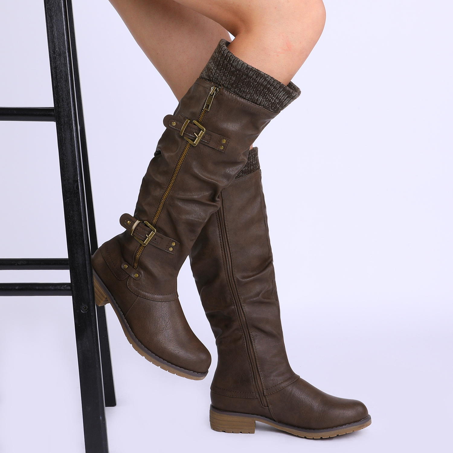 DREAM-PAIRS-Womens-DEPP-Cowgirl-Soft-PU-Leather-Combat-Knee-High-Riding-Boots thumbnail 18