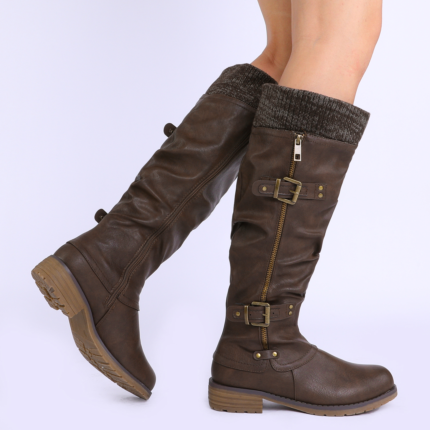 DREAM-PAIRS-Womens-DEPP-Cowgirl-Soft-PU-Leather-Combat-Knee-High-Riding-Boots thumbnail 17
