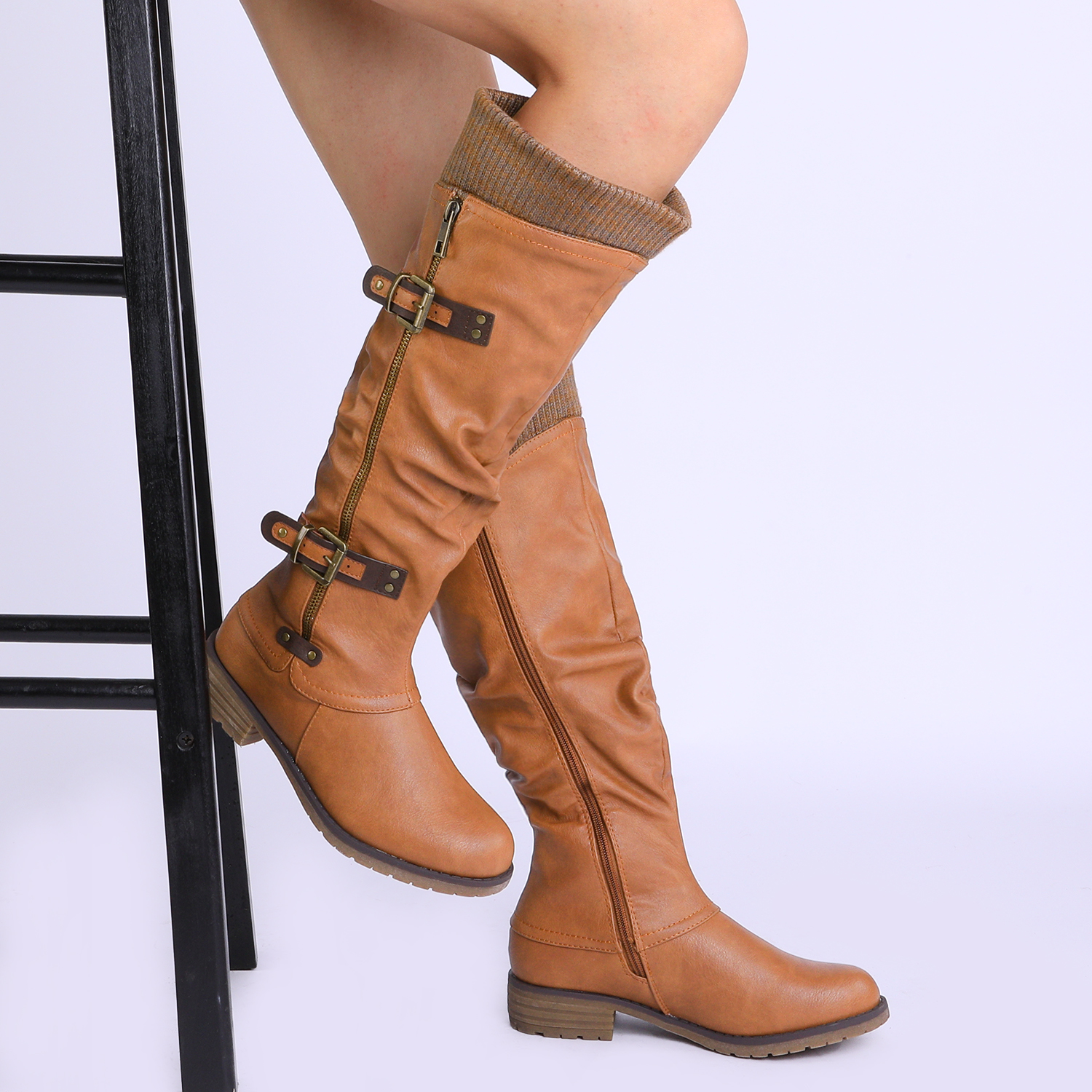 DREAM-PAIRS-Womens-DEPP-Cowgirl-Soft-PU-Leather-Combat-Knee-High-Riding-Boots thumbnail 25