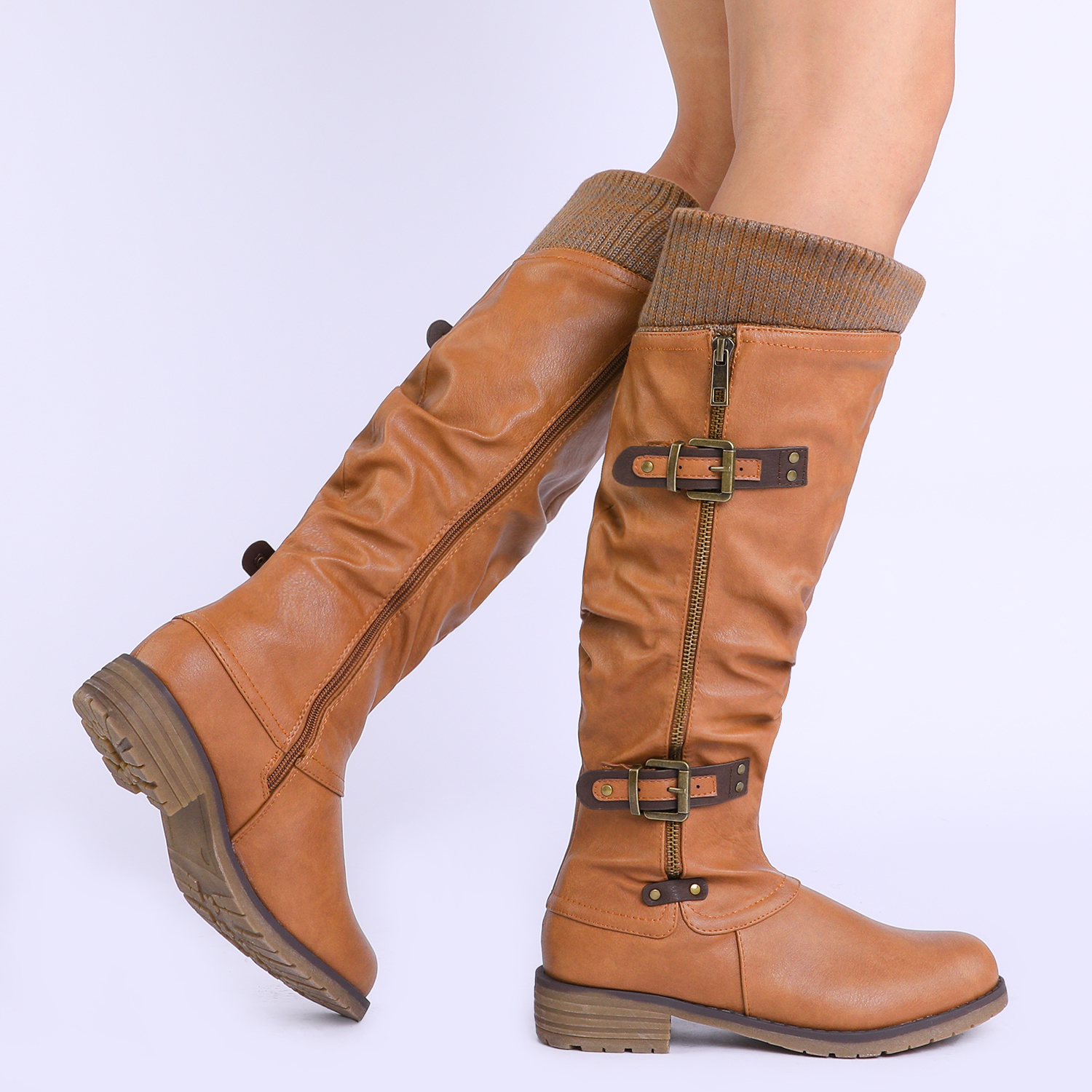 DREAM-PAIRS-Womens-DEPP-Cowgirl-Soft-PU-Leather-Combat-Knee-High-Riding-Boots thumbnail 24