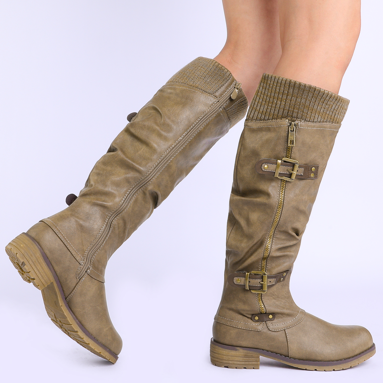 DREAM-PAIRS-Womens-DEPP-Cowgirl-Soft-PU-Leather-Combat-Knee-High-Riding-Boots thumbnail 31