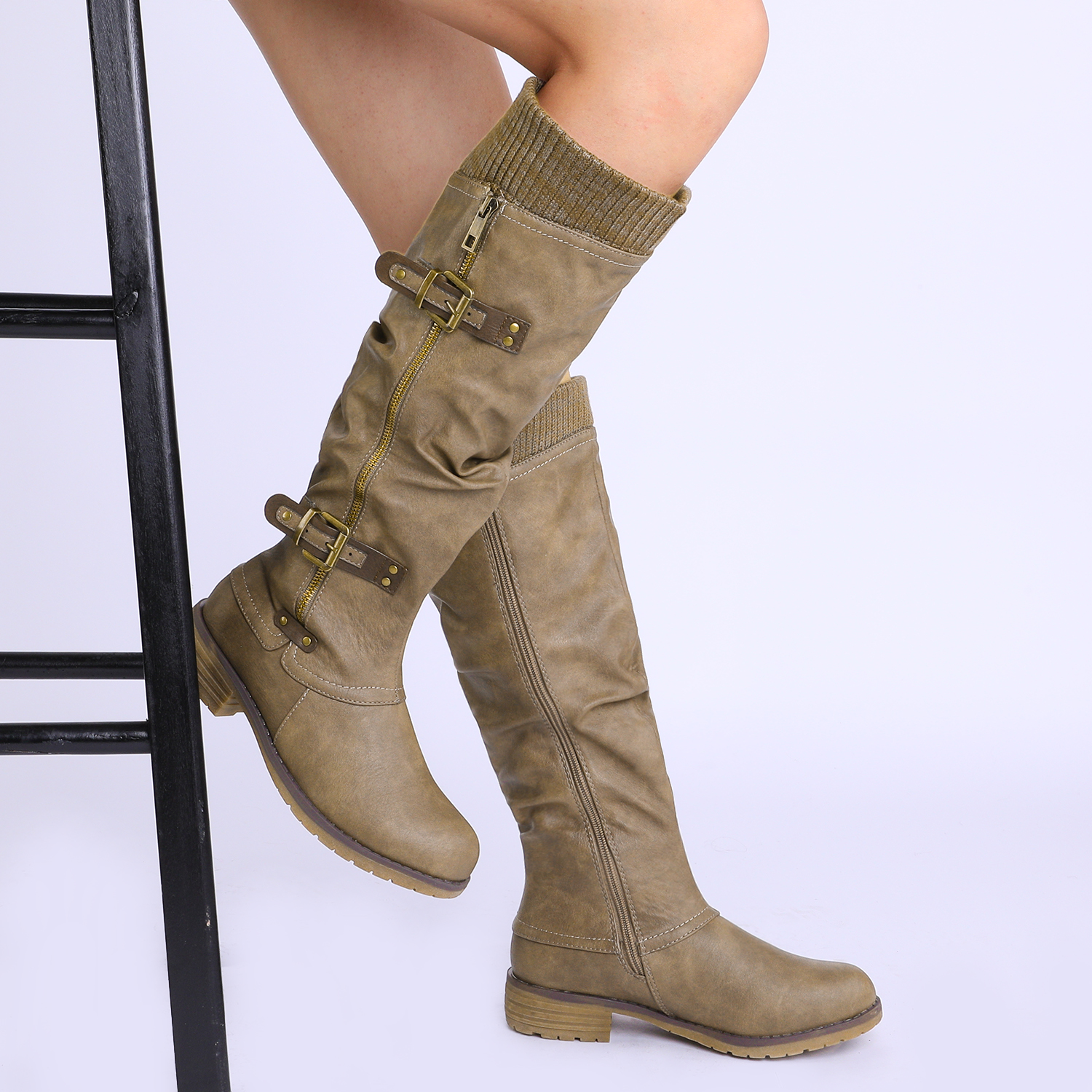 DREAM-PAIRS-Womens-DEPP-Cowgirl-Soft-PU-Leather-Combat-Knee-High-Riding-Boots thumbnail 32