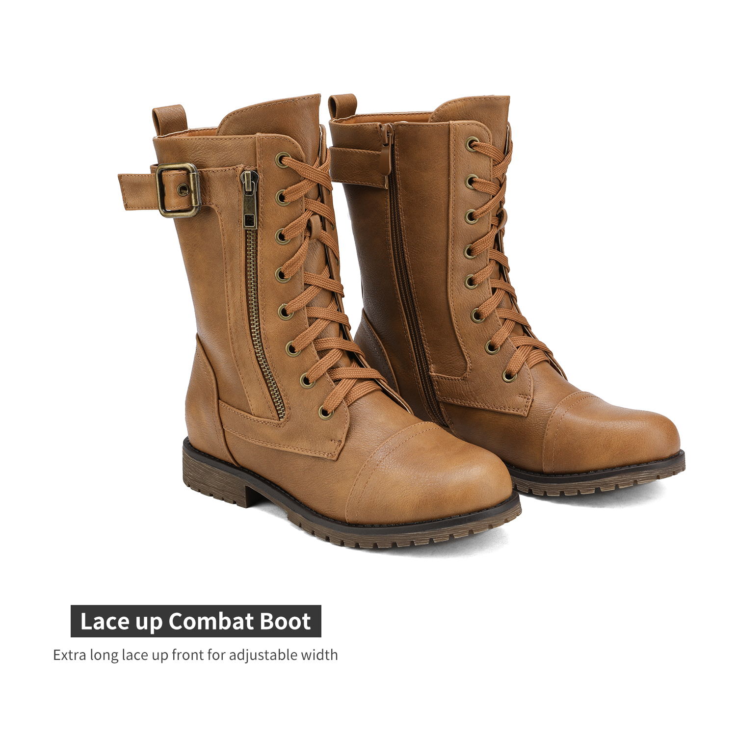 Combat  Military Round Toe Low Heel Lace Up Mid-Calf Boot Shoes Size 5.5-11