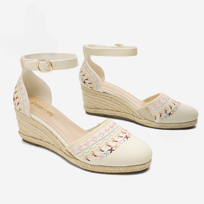 DREAM PAIRS Women Ankle Strap Close Toe Espadrilles Wedge Sandals Platform Shoes