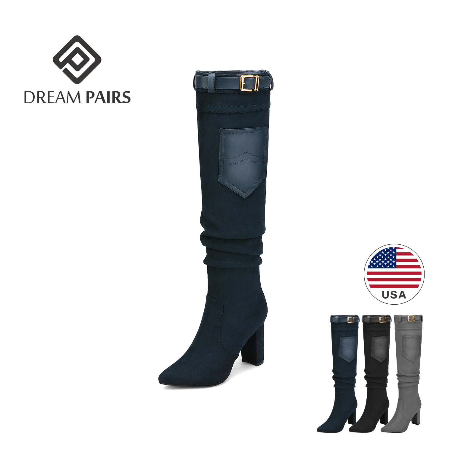 DREAM PAIRS Womens Thigh High Fashion Over The Knee Strech Block Mid Heel Boots