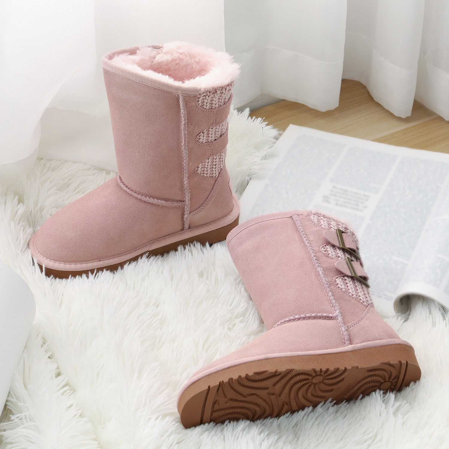 Kids Boys Girls Winter Warm Leather Fur Lined Shoes Ankle Boots Chelsea Shoes Fa