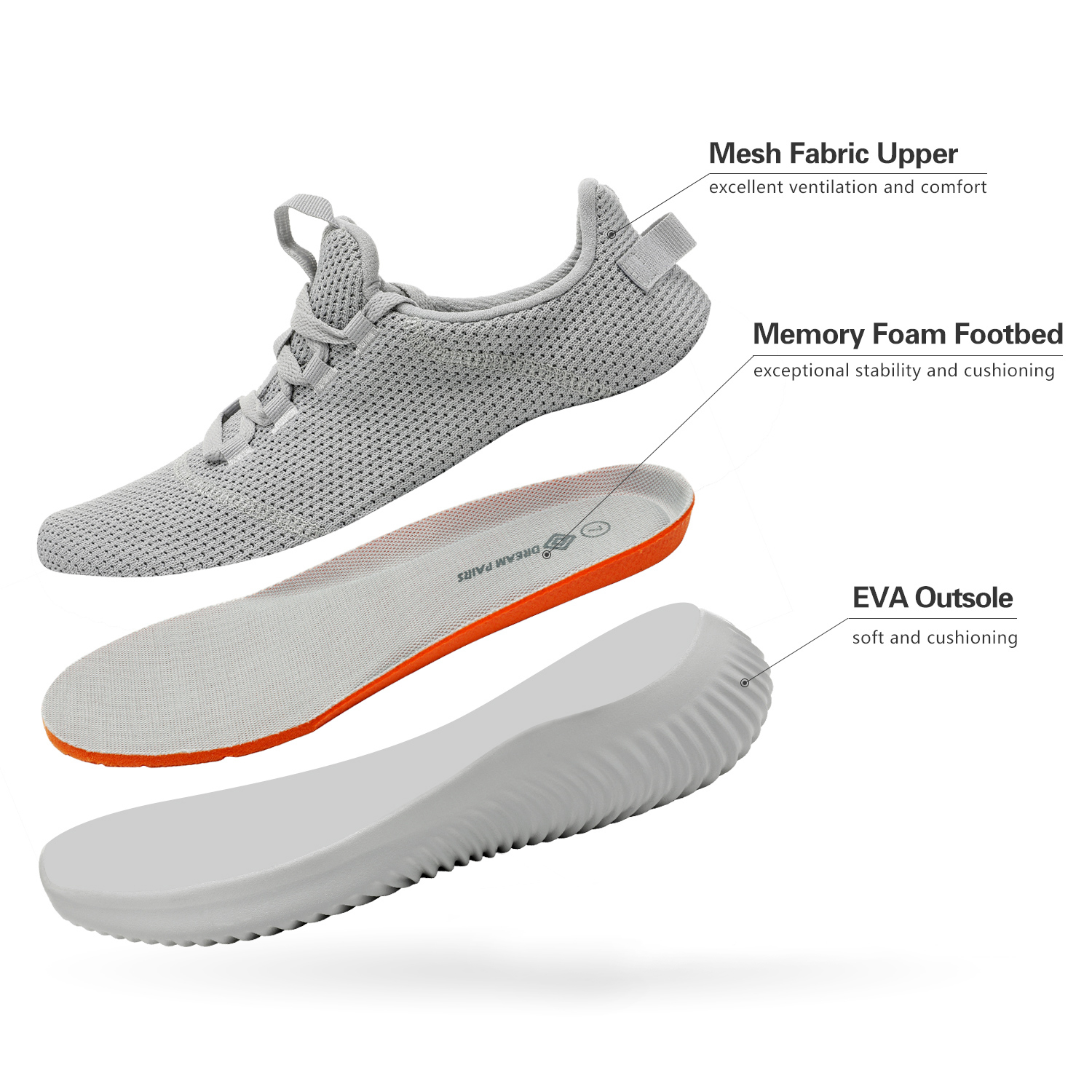 thumbnail 17 - Mens Running Shoes Lightweight Fashion Sneakers Comfort Walking Shoes