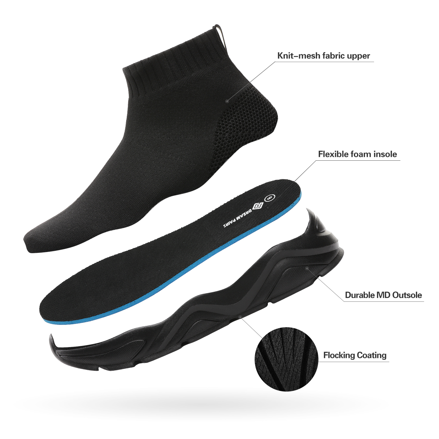 DREAM-PAIRS-Mens-Sports-Shoes-Breathable-Mesh-Running-Shoe-High-Top-Sock-Sneaker thumbnail 7