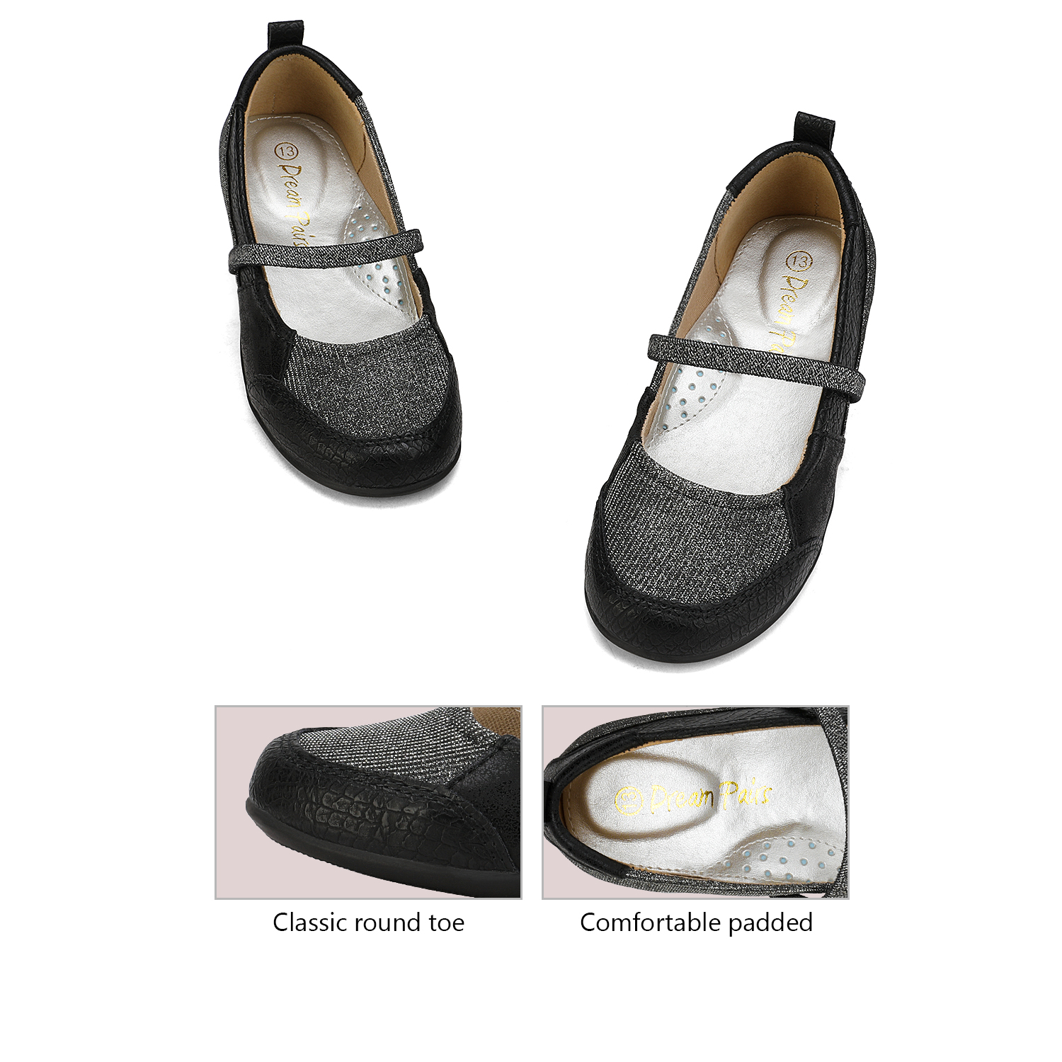 DREAM PAIRS Girls School Dress Shoes Slippers Mary Jane Shoes Slip On Flat Shoes