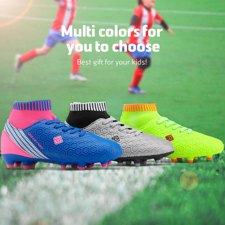 Dream-Paires-Garcons-Filles-Nouveau-Leger-HZ19007K-Football-Crampons-Soccer-Shoes miniature 13