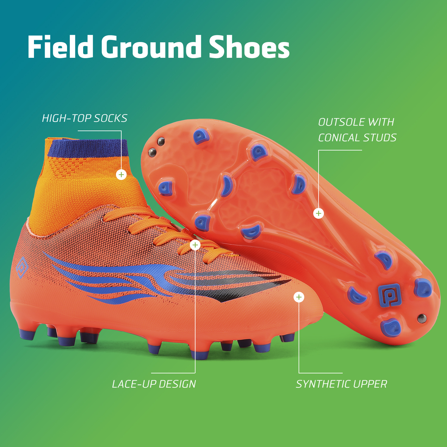DREAM PAIRS Boys Soccer Shoes Kids Outdoor Sport Football Soccer Cleats Sneakers