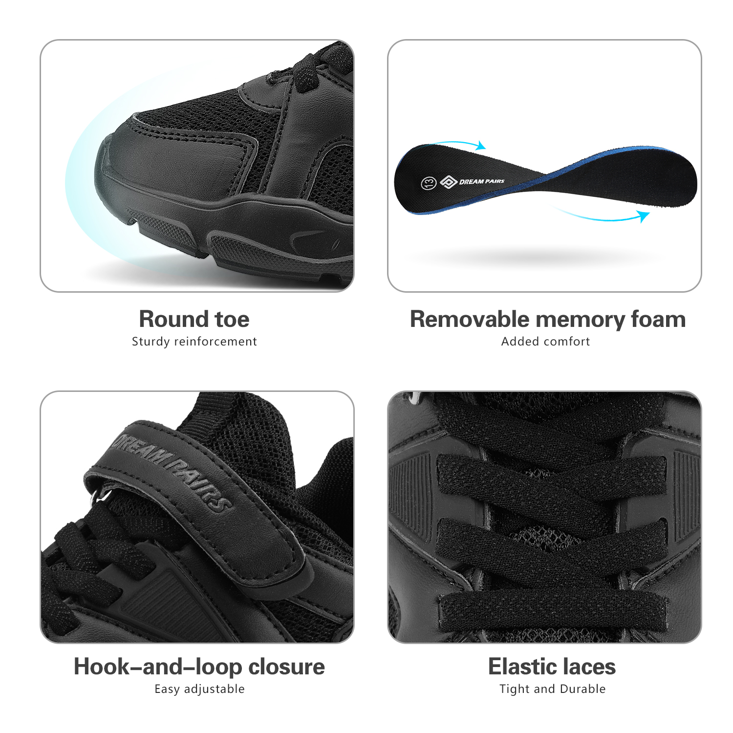 DREAM PAIRS Boys Girls Breathable Tennis Running Shoes Athletic Sport Sneakers