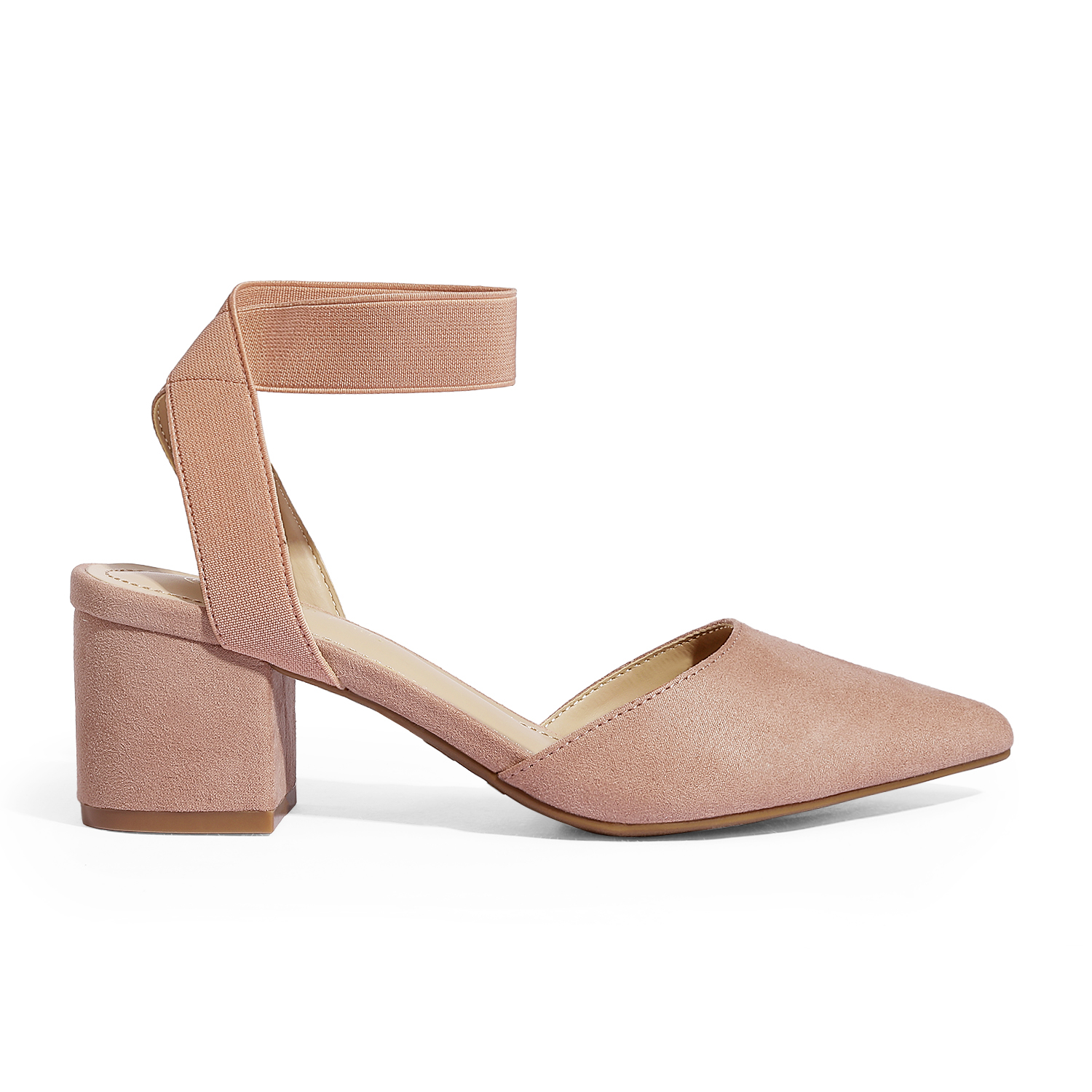 thumbnail 16 - Women-039-s-Elastic-Ankle-Strap-Pointed-Toe-Pump-Shoes-Low-Chunky-Heel-Dress-Pumps