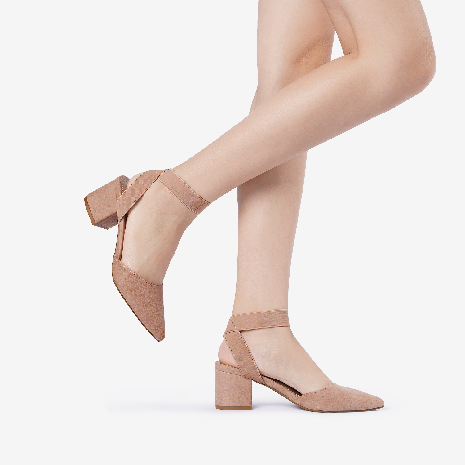 thumbnail 18 - Women-039-s-Elastic-Ankle-Strap-Pointed-Toe-Pump-Shoes-Low-Chunky-Heel-Dress-Pumps