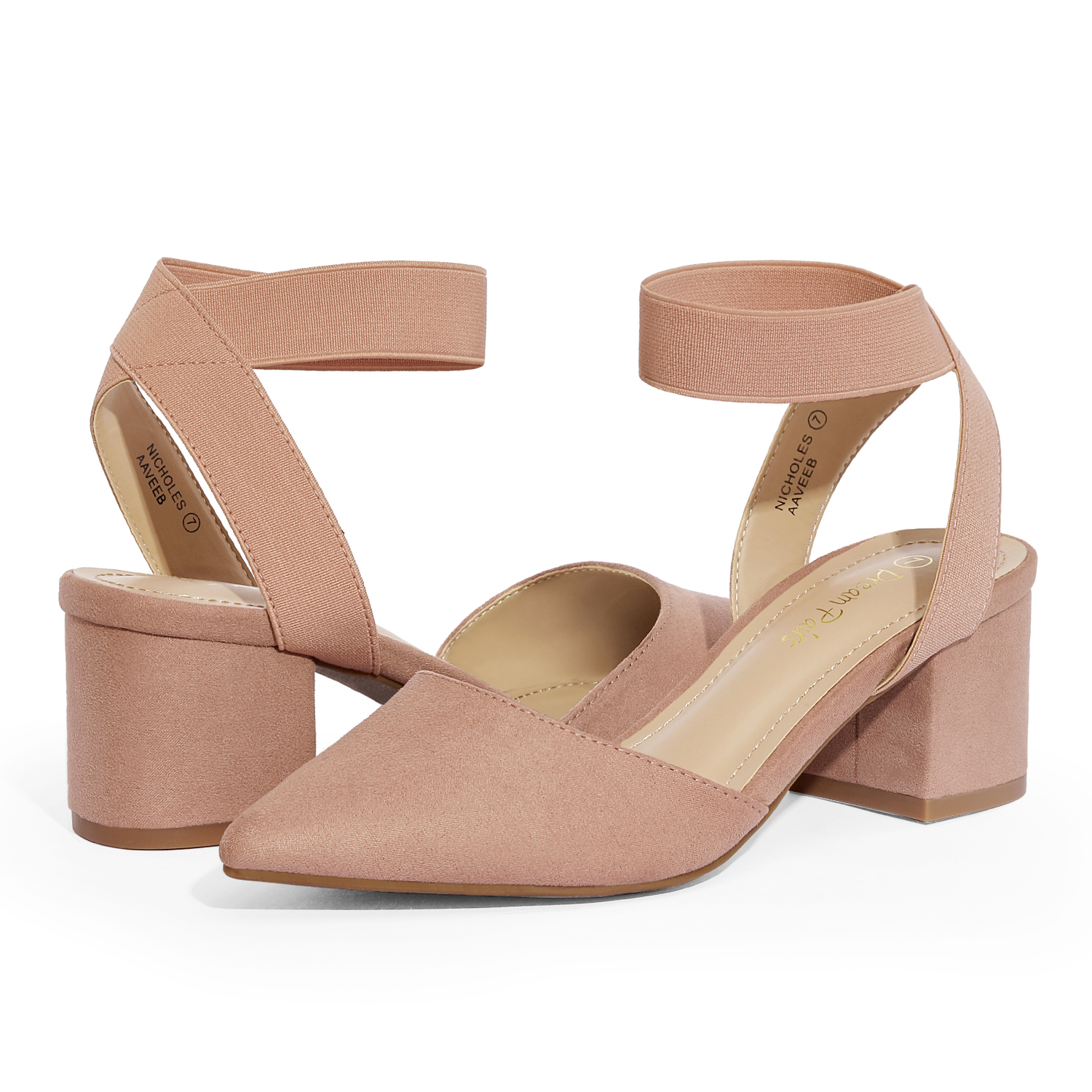 thumbnail 15 - Women-039-s-Elastic-Ankle-Strap-Pointed-Toe-Pump-Shoes-Low-Chunky-Heel-Dress-Pumps