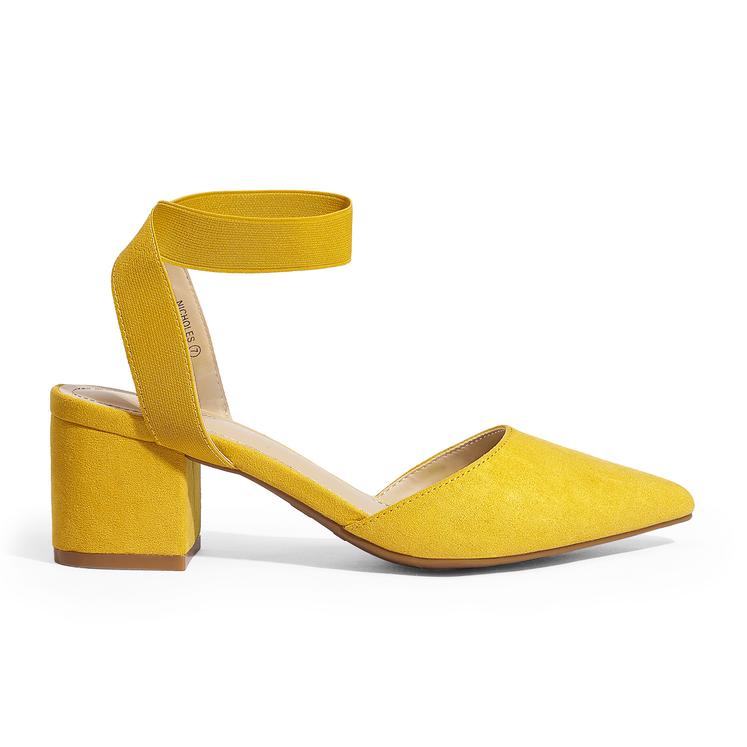 thumbnail 40 - Women-039-s-Elastic-Ankle-Strap-Pointed-Toe-Pump-Shoes-Low-Chunky-Heel-Dress-Pumps