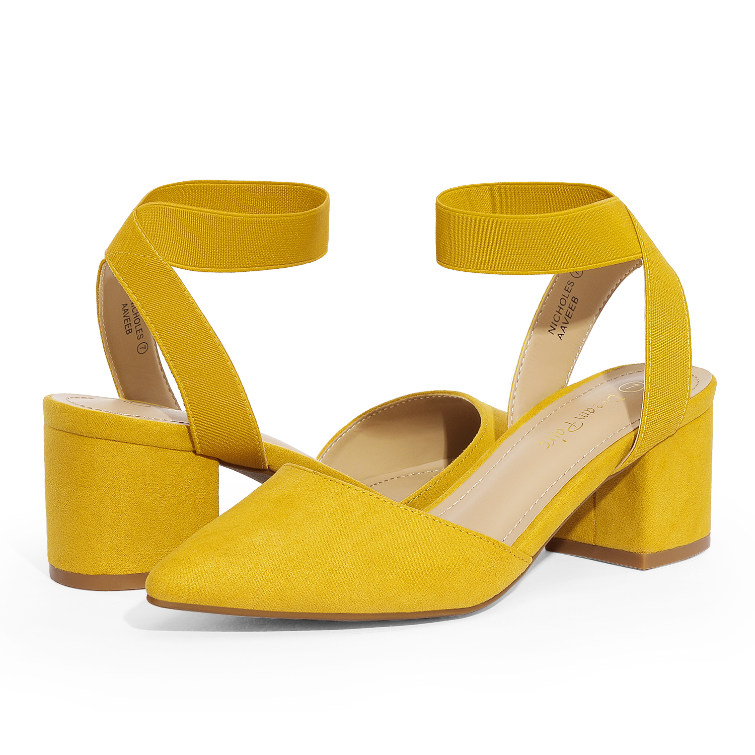 thumbnail 39 - Women-039-s-Elastic-Ankle-Strap-Pointed-Toe-Pump-Shoes-Low-Chunky-Heel-Dress-Pumps