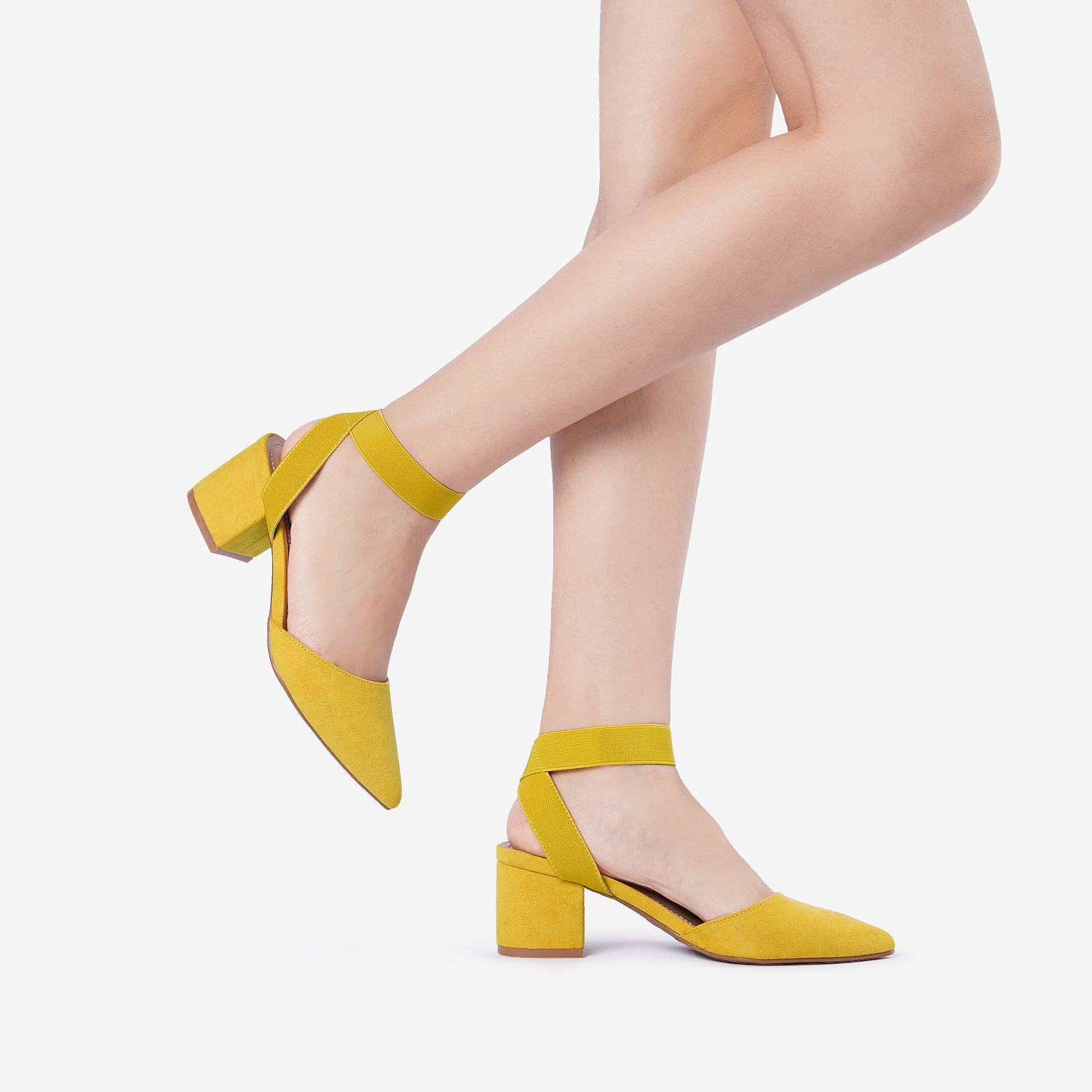 thumbnail 42 - Women-039-s-Elastic-Ankle-Strap-Pointed-Toe-Pump-Shoes-Low-Chunky-Heel-Dress-Pumps