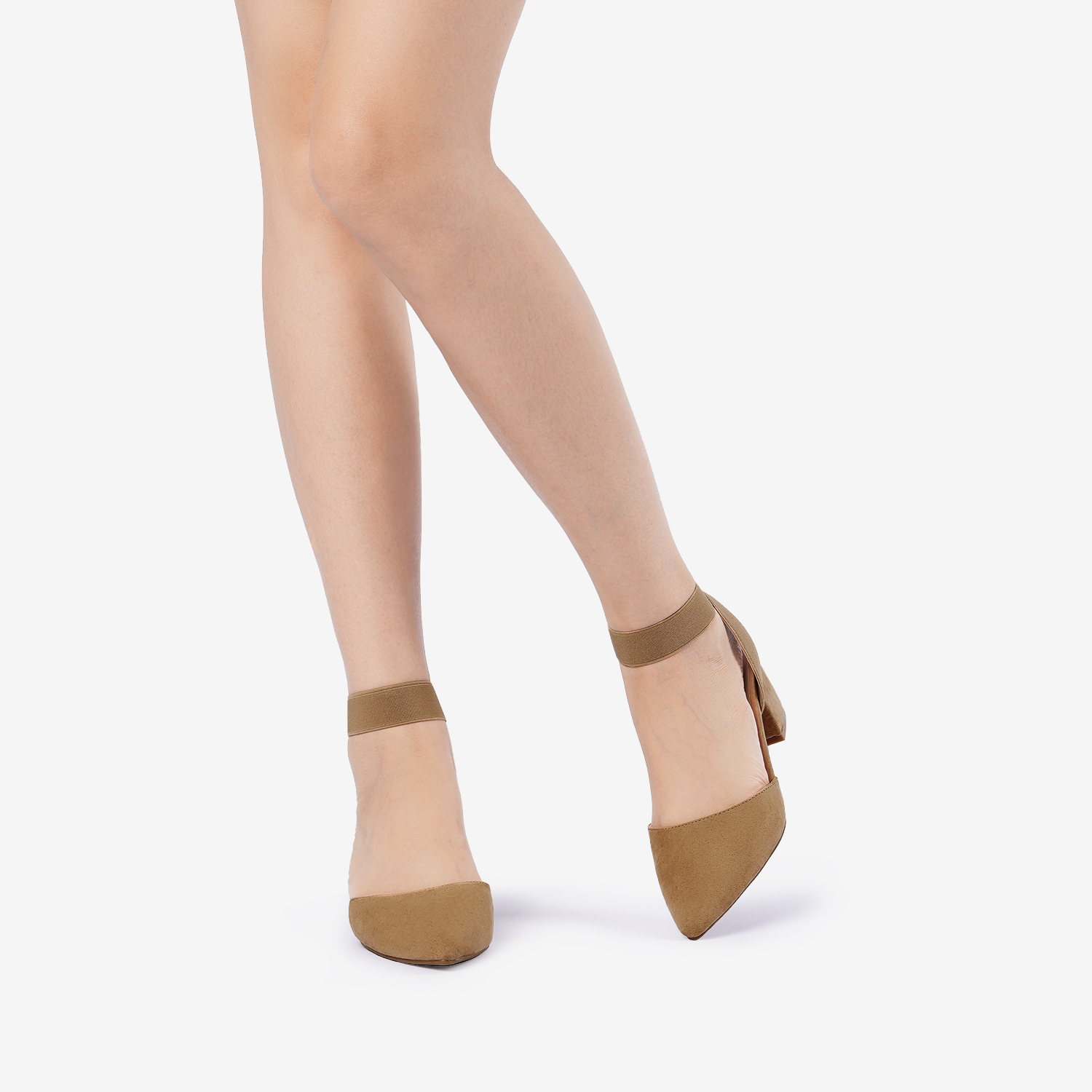 thumbnail 25 - Women-039-s-Elastic-Ankle-Strap-Pointed-Toe-Pump-Shoes-Low-Chunky-Heel-Dress-Pumps