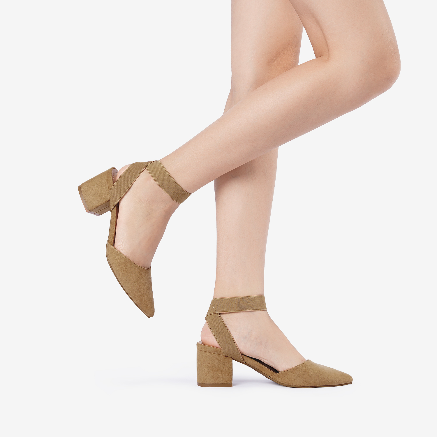 thumbnail 24 - Women-039-s-Elastic-Ankle-Strap-Pointed-Toe-Pump-Shoes-Low-Chunky-Heel-Dress-Pumps