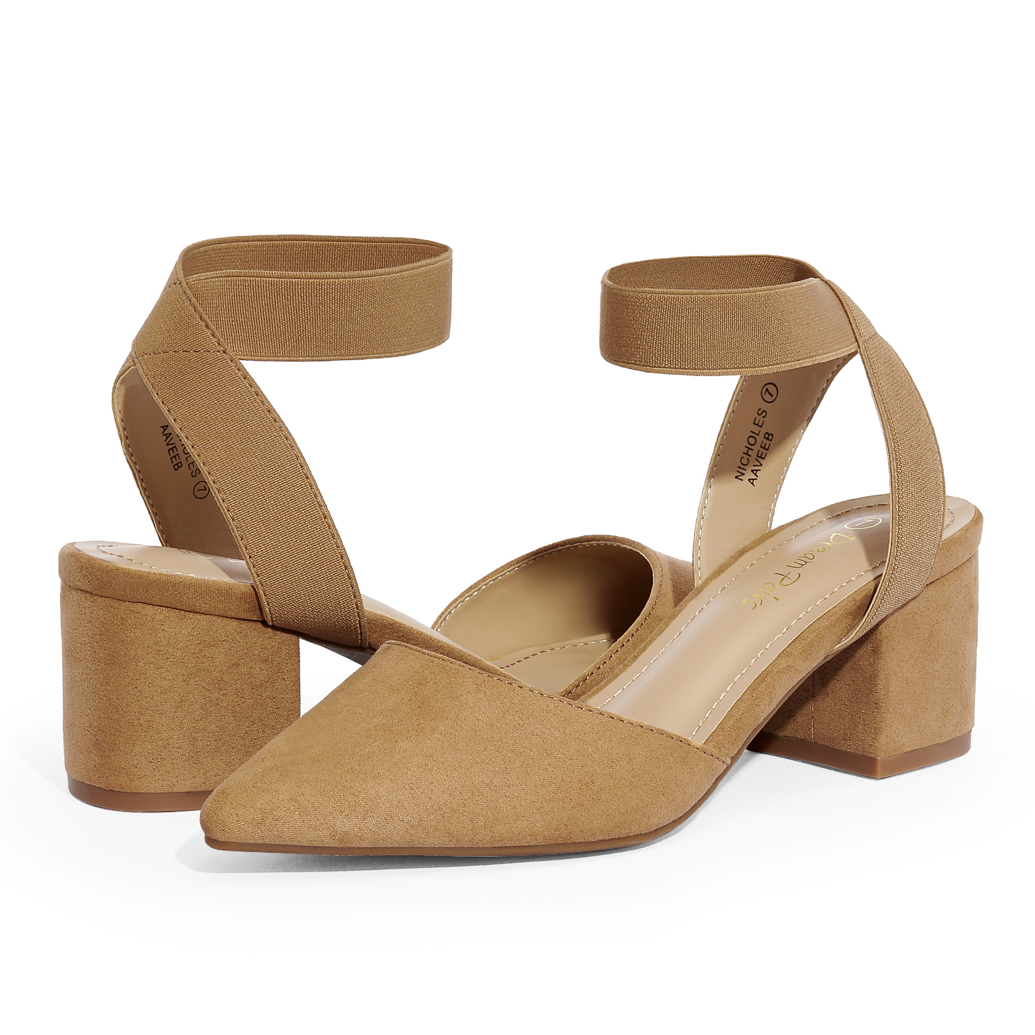 thumbnail 21 - Women-039-s-Elastic-Ankle-Strap-Pointed-Toe-Pump-Shoes-Low-Chunky-Heel-Dress-Pumps