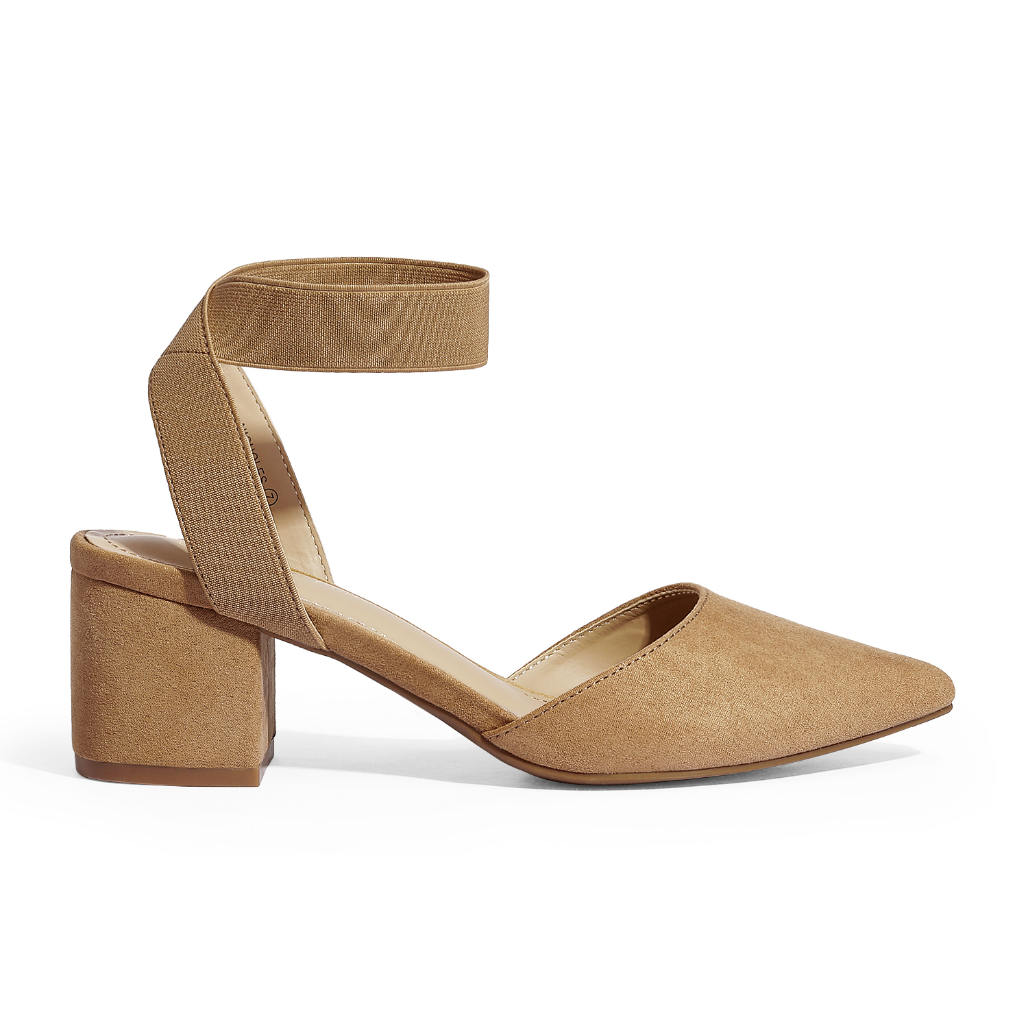 thumbnail 22 - Women-039-s-Elastic-Ankle-Strap-Pointed-Toe-Pump-Shoes-Low-Chunky-Heel-Dress-Pumps