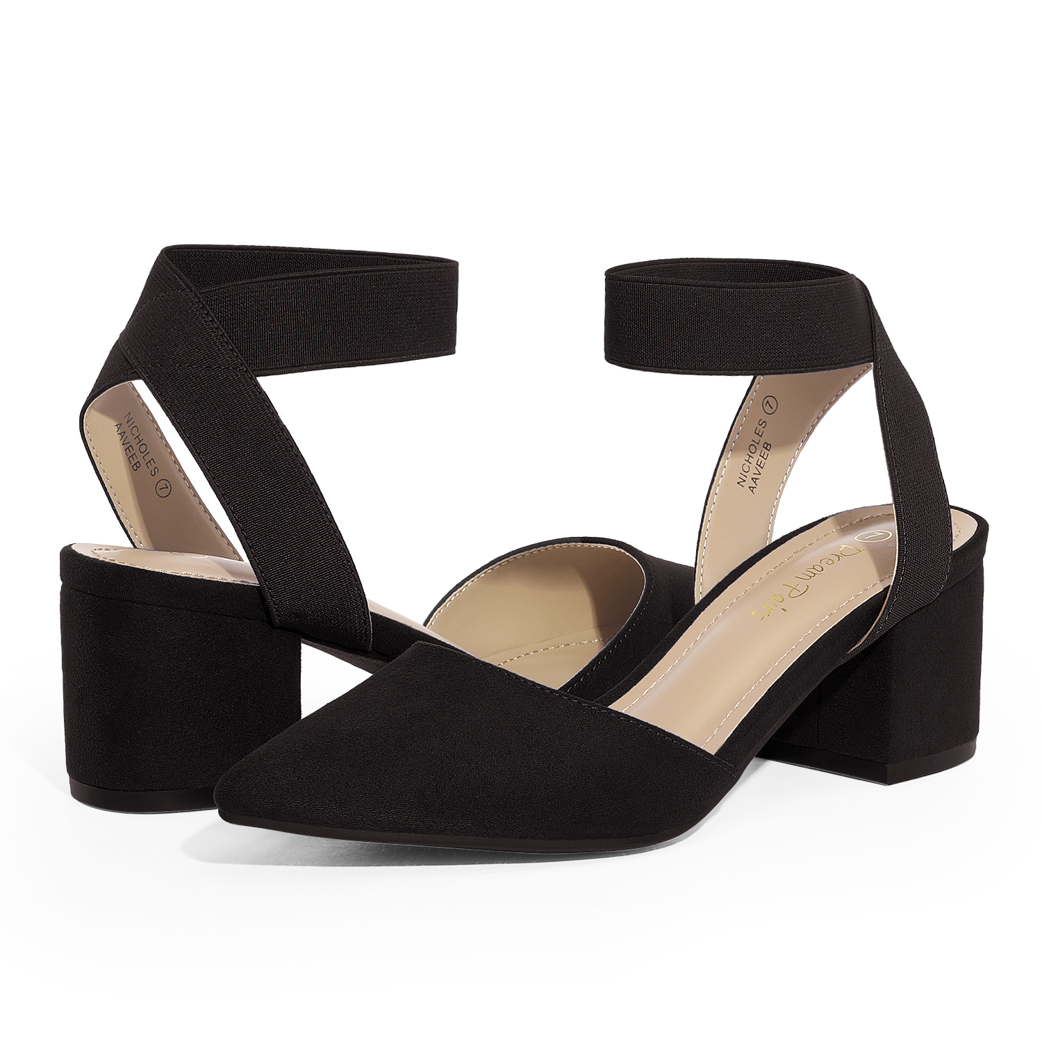 thumbnail 9 - Women-039-s-Elastic-Ankle-Strap-Pointed-Toe-Pump-Shoes-Low-Chunky-Heel-Dress-Pumps