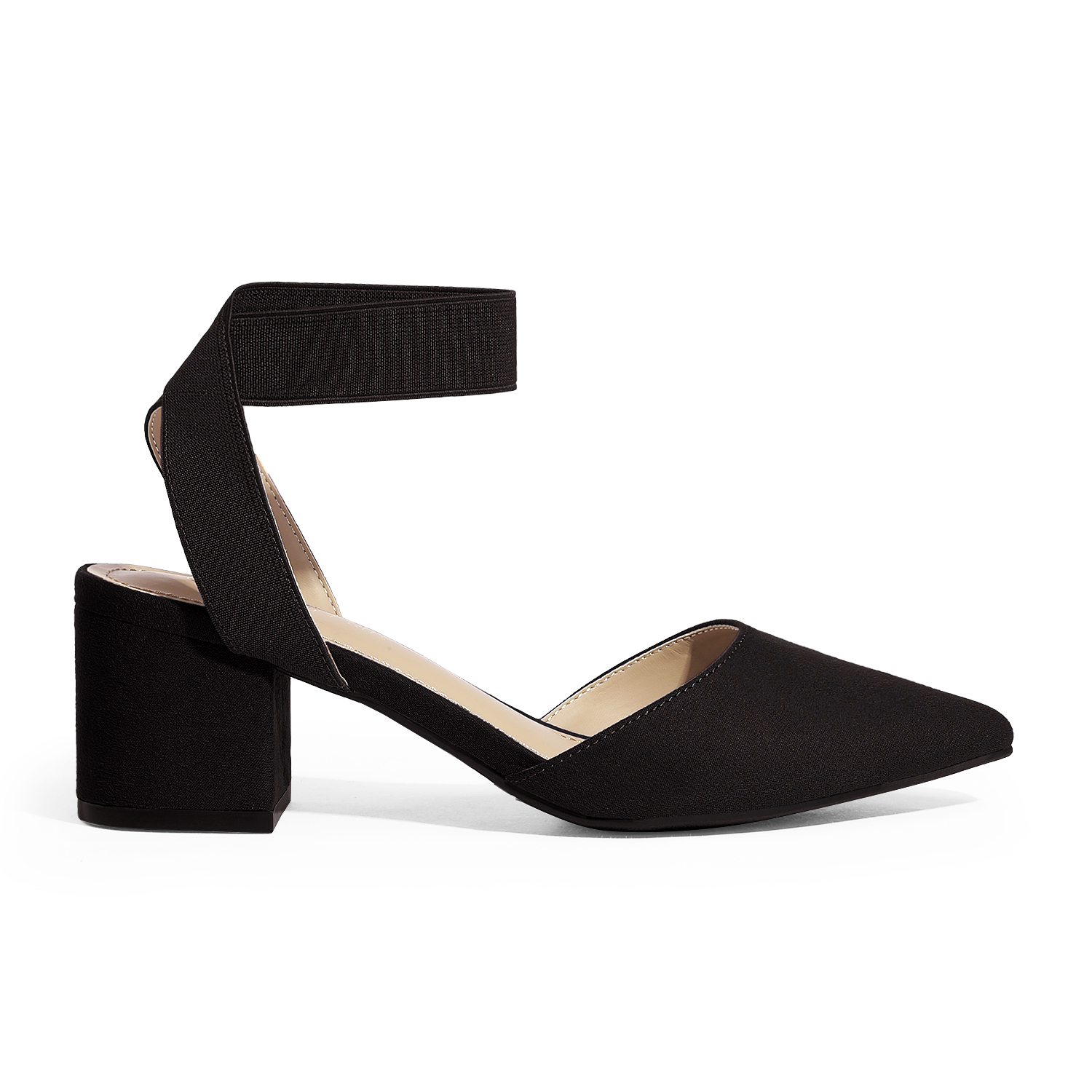 thumbnail 10 - Women-039-s-Elastic-Ankle-Strap-Pointed-Toe-Pump-Shoes-Low-Chunky-Heel-Dress-Pumps