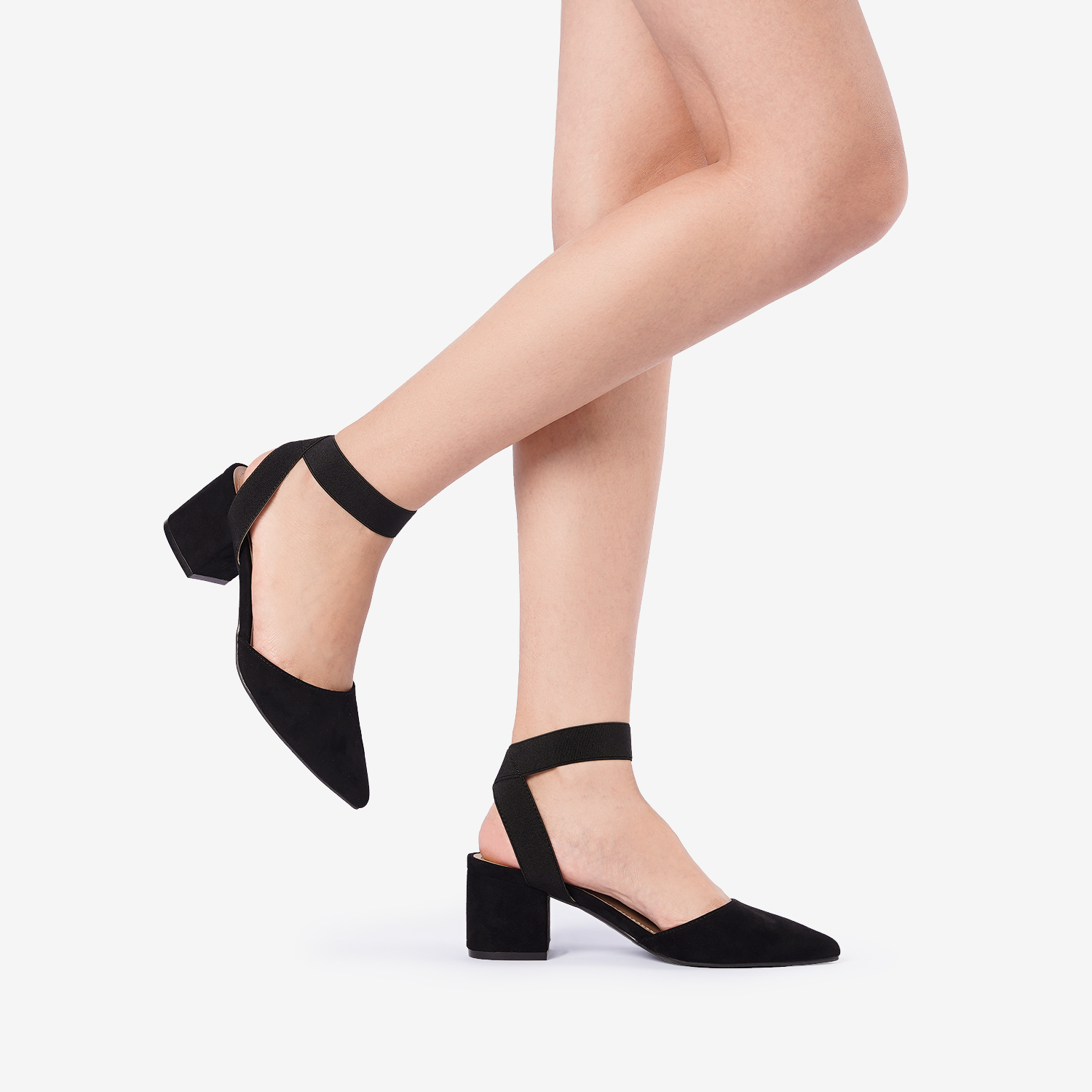 thumbnail 12 - Women-039-s-Elastic-Ankle-Strap-Pointed-Toe-Pump-Shoes-Low-Chunky-Heel-Dress-Pumps