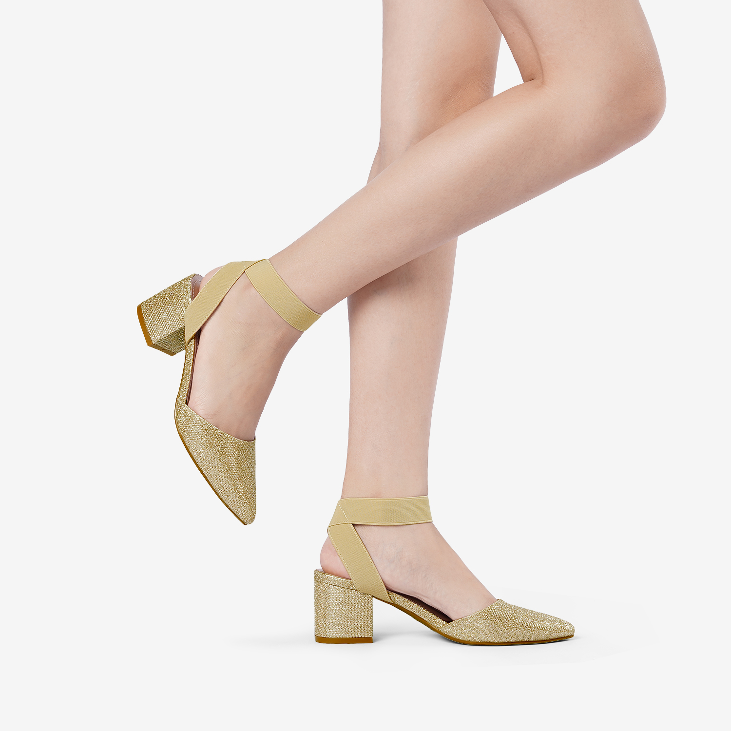thumbnail 30 - Women-039-s-Elastic-Ankle-Strap-Pointed-Toe-Pump-Shoes-Low-Chunky-Heel-Dress-Pumps
