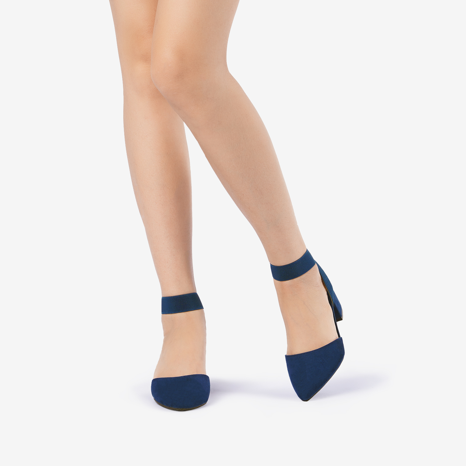thumbnail 49 - Women-039-s-Elastic-Ankle-Strap-Pointed-Toe-Pump-Shoes-Low-Chunky-Heel-Dress-Pumps