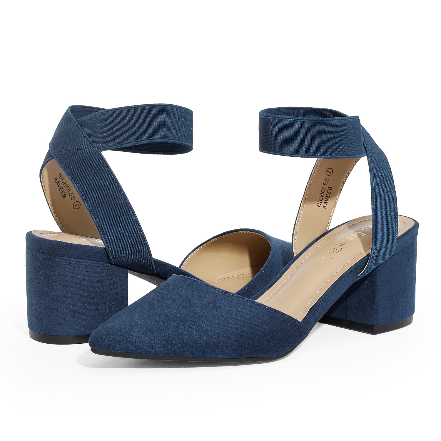 thumbnail 45 - Women-039-s-Elastic-Ankle-Strap-Pointed-Toe-Pump-Shoes-Low-Chunky-Heel-Dress-Pumps