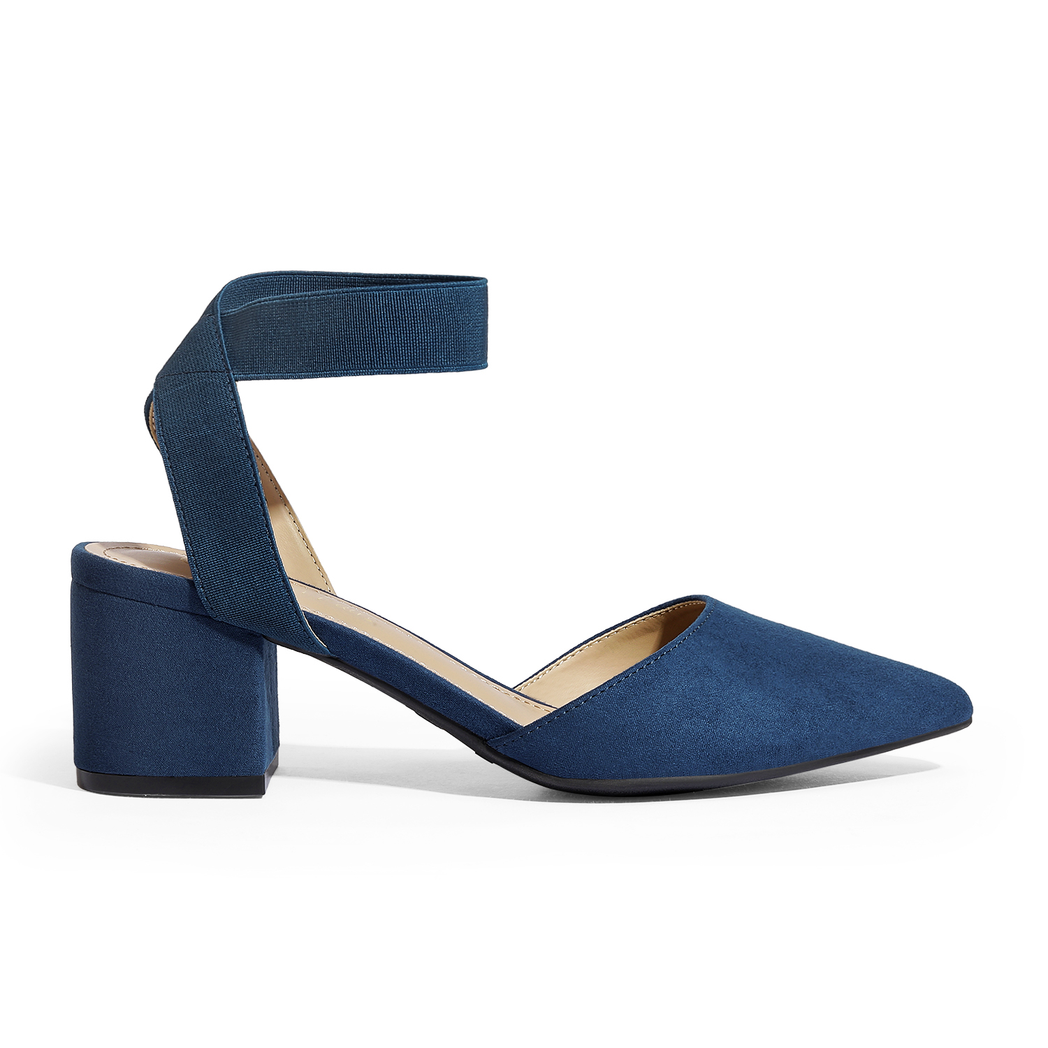 thumbnail 46 - Women-039-s-Elastic-Ankle-Strap-Pointed-Toe-Pump-Shoes-Low-Chunky-Heel-Dress-Pumps