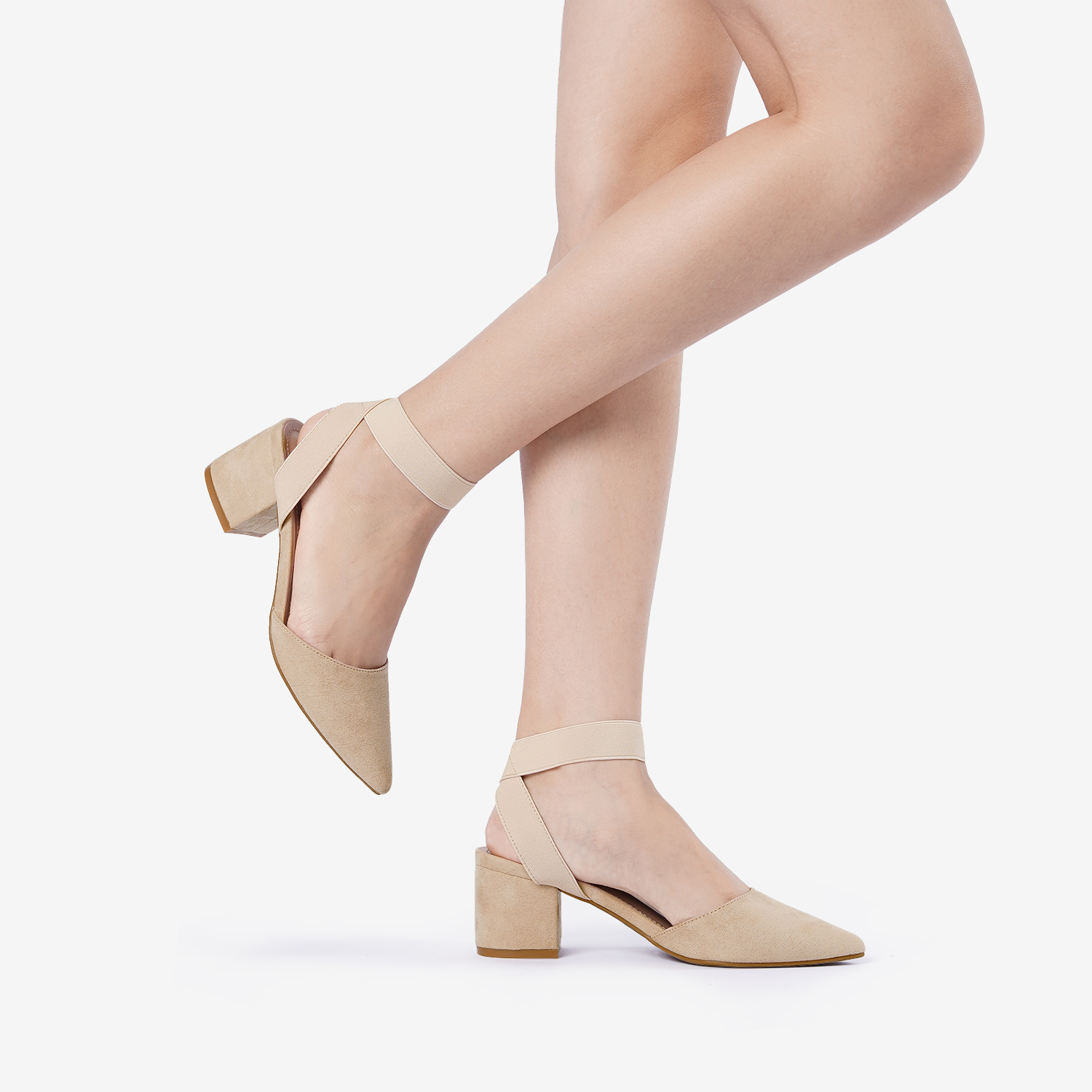 thumbnail 54 - Women-039-s-Elastic-Ankle-Strap-Pointed-Toe-Pump-Shoes-Low-Chunky-Heel-Dress-Pumps