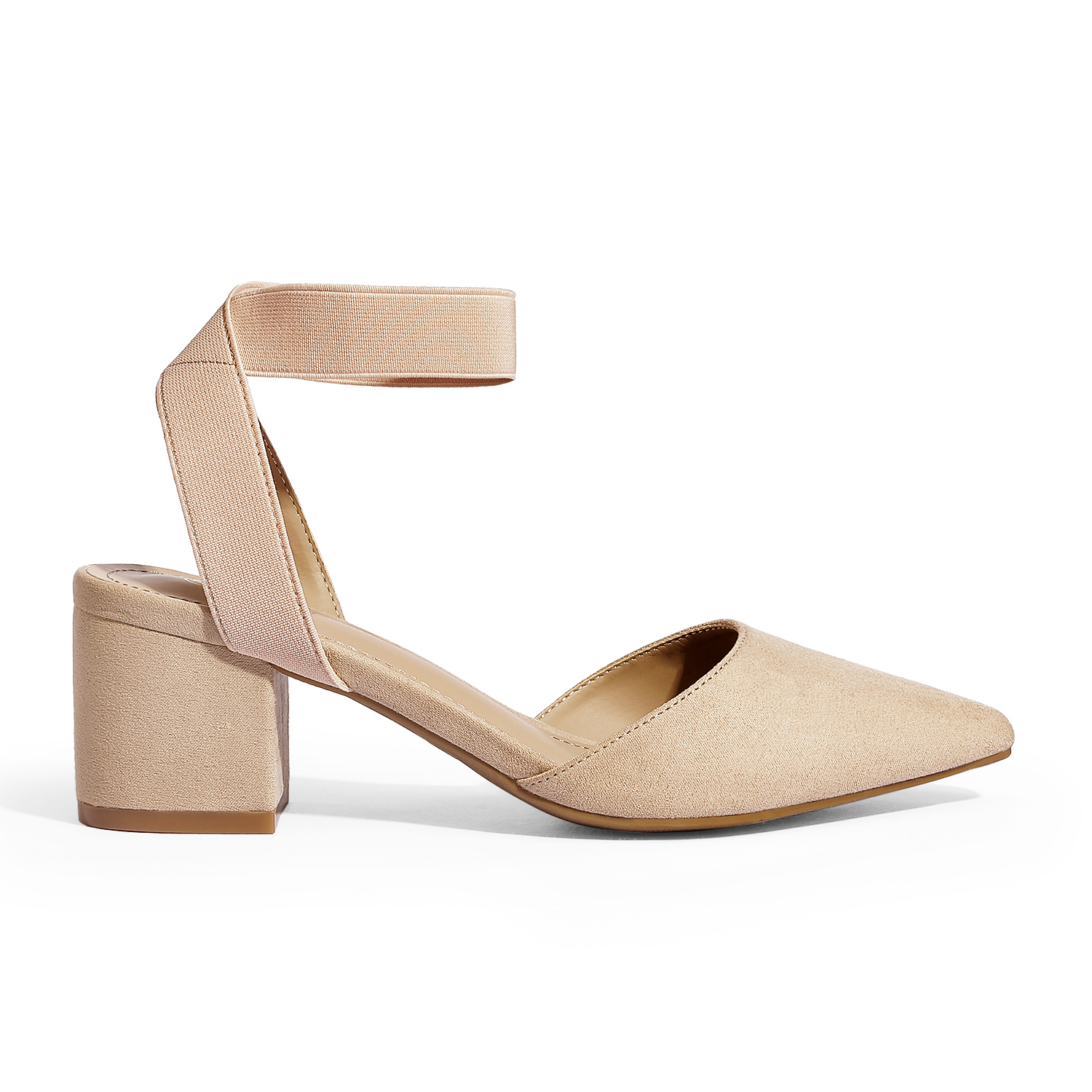 thumbnail 52 - Women-039-s-Elastic-Ankle-Strap-Pointed-Toe-Pump-Shoes-Low-Chunky-Heel-Dress-Pumps